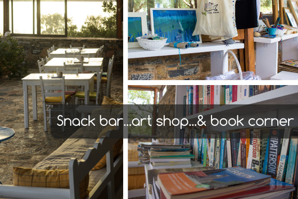 Snac bar Art shop Book corner | Holiday apartments Elounda Island Villas