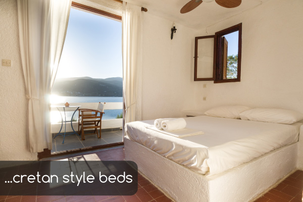 Cretan style beds | Holiday apartments Elounda Island Villas