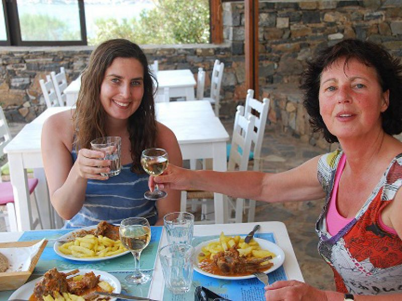 Jeanny and Jasmin Heuzer eating at the Elounda Island Villas Art Cafe